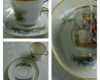19th Century Hand Painted Sevres Demi cup & saucer with Courting Scene circa 1855  #DSC