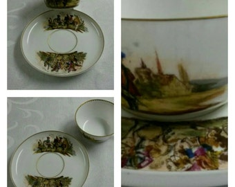 Men of War Tea Cup and Saucer; 18th Century, HP From Berlin Germany During The Reign of Frederick The Great circa 1763-1837   #DSC