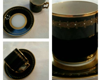 Rare Cobalt Blue Demitasse cup & saucer by Lettin (Heinrich Baensch) circa 1900-1930  -DR