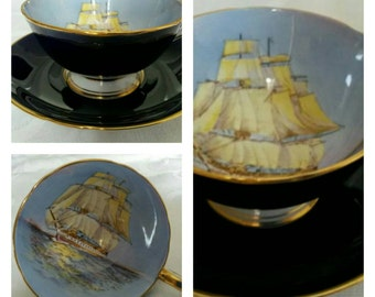 Cobalt Blue, Aynsley Cup & Saucer Featuring A Clipper Ship Hand Painted And Signed By The Artist, D Jones circa 1930's-  DR