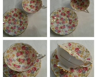 """Royal Stafford Tea Cup and Saucer; Chintz Pattern Titled, """"June Roses"""" circa 1950's   DS"""