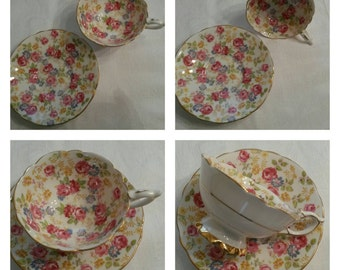 "Royal Stafford Chintz Cup & Saucer Called ""June Roses"" circa 1950's   DS"