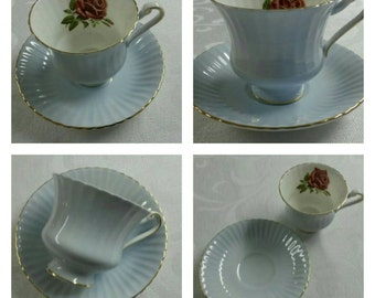 Blue Paragon Cup & Saucer With A Red Rose Inside The Cup circa 1957-1960's  -865