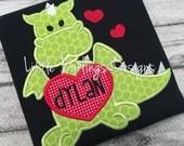 Fun Boys Heart Loving Dragon Valentine's Day Shirt