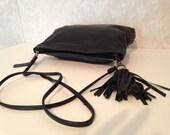 Vintage tassel purse black genuine leather Bechamel handbag long leather strap with a zipper and black tassel  women's vintage bag