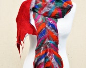 50 % SALE - Beautiful scarf, nuno felted scarf, silk, wool, nuno, felted, gift, fibre art, red