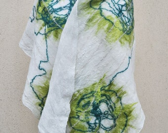 SALE - Beautiful shawl, felted scarf, silk, wool, felted, gift, fiber art, green, white