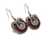 Maroon Earrings/ Oxblood Earrings/ Blue Drop Earrings/ Small Drop Earrings/ Soutache Earrings/ Blue Earrings/ Small Dangle Earrings