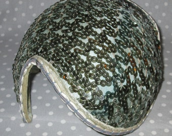 Vintage Hat Cap Sequin Free Form Fascinator Green