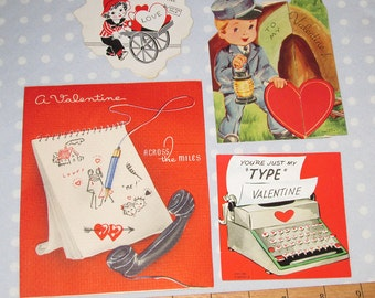 Vintage Valentine Lot of 4 Cards Train Typewriter Cart (MM)