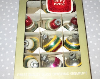 Shiny Brite Glass Christmas Tree Ornaments Stripes Bell Glitter Vintage BELLS STRIPES Group of 10 Antique