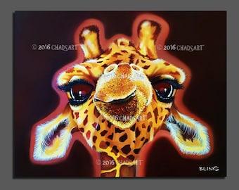 "Giraffe Painting titled ""Baby Face"" Print, Giraffe Art, Animal Art, Wildlife Painting, Safari Art, African Art, Giraffe Decor"