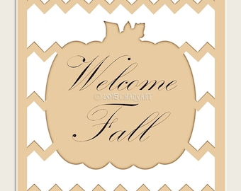 "WELCOME FALL SIGN Decor Print-8"" x 10"" or 11"" x 14"", Chic and Elegant Monochromatic Chevron Pumpkin Art, Autumn Decor"