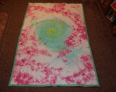 Galaxy Swirl Tie Dye Pink & Bright Teal Green XL Extra Long Twin Size Bed Quilt - Ready To Ship
