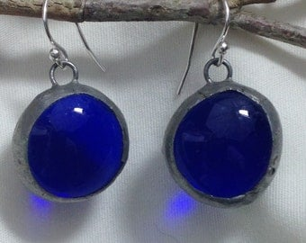 Blue Glass and Sterling Silver Ear Wire