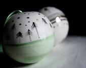 handmade christmas bauble, handpainted christmas ornamnets, white green gold, christmas tree decoration, porcelain christmas bauble, karoArt