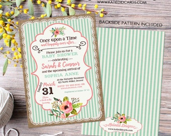 once upon a time baby girl shower invitation bridal burlap coral mint stripe gender neutral gender reveal item 1346 shabby chic invitations
