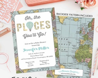 oh the places you will go invitation map baby shower hot air balloon birthday baptism graduation world travel (item 12110) around the world