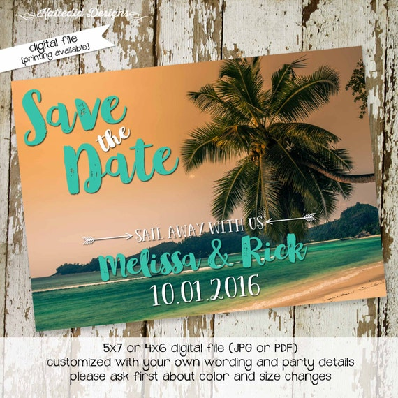 cruise save the date tropical wedding RSVP party invitation couples shower bridal shower rehearsal dinner engagement invitation (item 330)