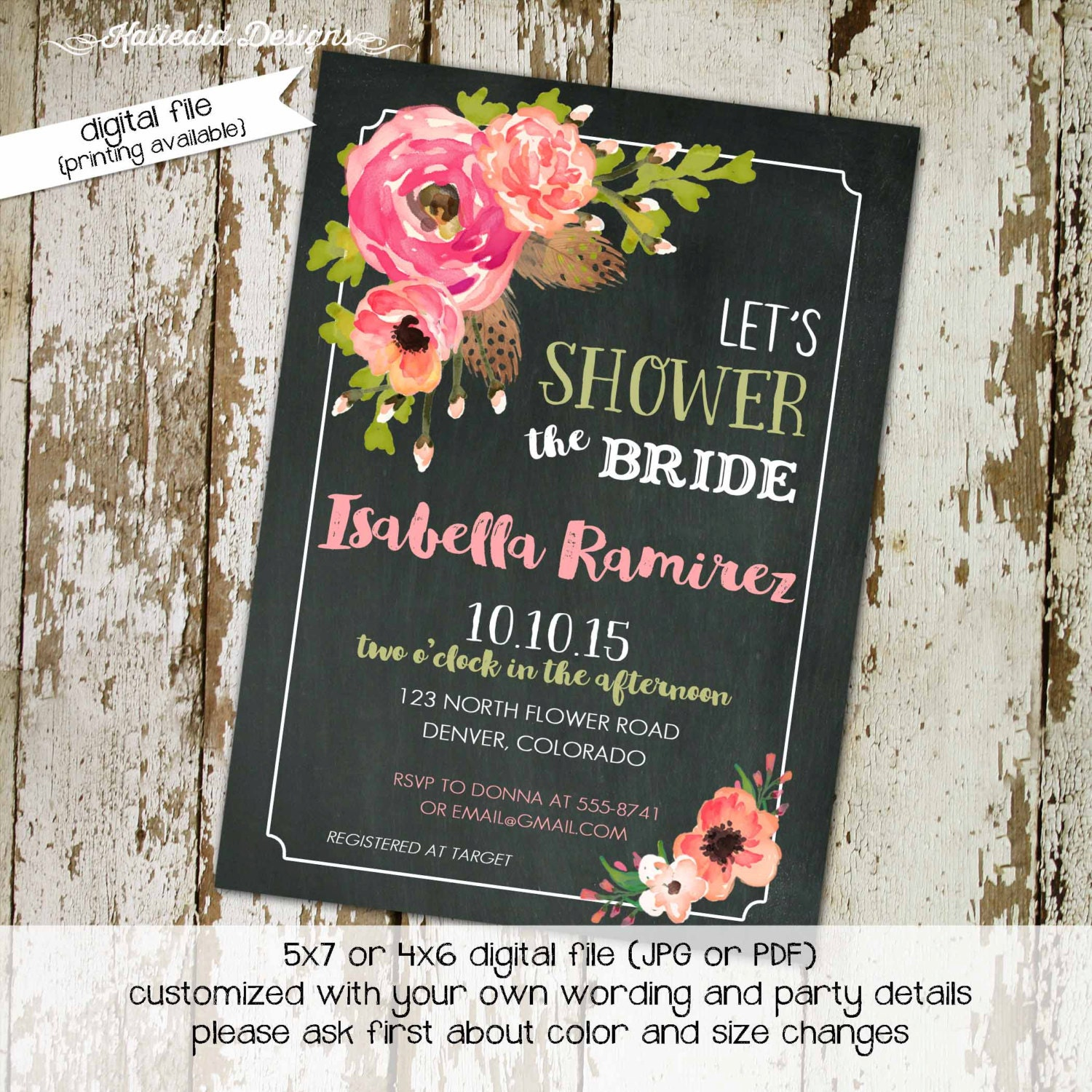 floral bridal shower rustic chic feathers evite baby girl shower invitation floral chalkboard wedding baptism item 320 shabby invitations