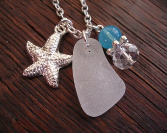 Starfish Necklace, Sea Star Charm with White Scottish Sea Glass and Turquoise Bead