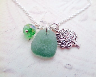 Tree of Life Necklace with Scottish Sea Glass in Green and Silver, Jewelry from Scotland, Tree Pendant