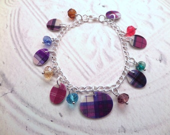 Scottish Charm Bracelet with Plastic Tartan Charms and Multicolor Glass Beads, Clan Jewelry, Highland Dance, Gift from Scotland