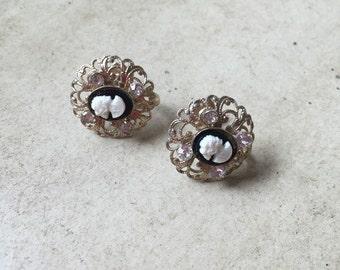 50's Vintage Cameo Rhinestone Earrings