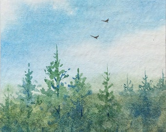 Original ACEO watercolor painting - Sunny spring day