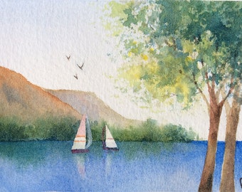 ACEO Original Watercolor Landscape Painting - Northern lake