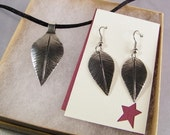 Leaf Necklace Earrings SHIPS IMMEDIATELY Woman's Hammered Nickel Silver Leaves Leather Necklace Leaf Earrings Set Birthday Gifts for Her