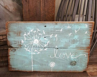 Dandelion Love Reclaimed Wood Sign