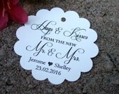 20 Hugs and Kisses from the Mr. and Mrs... Custom Wedding Favor Tags in white, ivory, Kraft.  Thank you wedding favor tags.  Thank you tags.