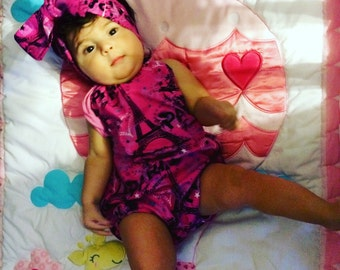 Romper and headwrap set with Paris fabric