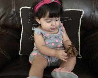 Baby rosette burlap headband