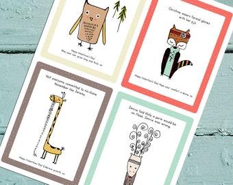 Set of Four Woodland SAS Valentine Printables. Digital Download