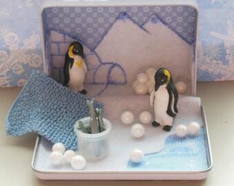 Penguin Love - Ooak Penguin diorama in altered tin.