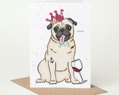 Tipsy Pug Birthdy Card (pug birthday card, pug congratulations card, pug celebration card, alcohol, wine, red wine, tattoo, tattooed, funny)
