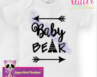 Cute Baby bear, Baby Cub, Baby Fashion - Arrows - Tribal - Native, Mama Bear - Trendy - Bodysuit, Gift Baby Shower - Bear Family - Present