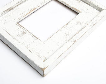 16x20 Wide Stacked Rustic Barnwood White Stacked Distressed Rustic Picture Frame-White Farmhouse Distressed Frame-Rustic Picture Frame