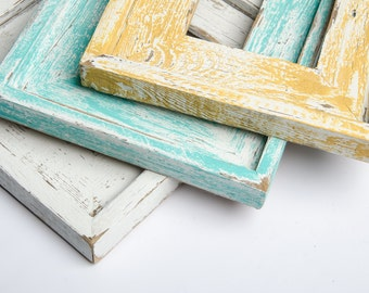3) 8x10 Stacked Rustic Barnwood White, Yellow, Turquoise Stacked Distressed Rustic Picture Frame-Aqua Blue-Farmhouse Distressed Frame-rustic