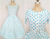 Vintage 1950s L'Aiglon Dress and Jacket Set / Turquoise Polka Dots / Small