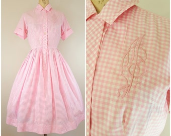 Vintage 1950s Pink Gingham Dress / Initial Dress / Cotton Day Dress / Shirtwaist / Small Medium