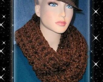 Crochet Infinity Scarf, Brown Crochet Infinity Scarf, Brown Chunky Infinity Scarf, Circle Loop Eternity Scarf, Brown Scarf, Chenille Scarf