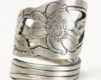 Wild Rose Ring, Sterling Silver Spoon Ring, Engraved Flower Ring, Gardener Gift, Silver Rose, Antique R Wallace, Adjustable Ring Size (5817)