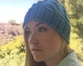 Cable knit beanie - MARIA - blue wool blend cap