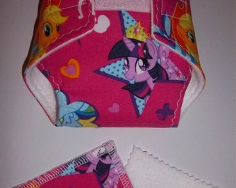 Baby Doll Diaper/doll wipes - cute pony, horseshoes, stars, hearts, zing on hot pink -  adjustable for many dolls, bitty baby