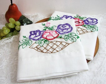 Vintage Embroidered Pillowcases, Pair, Set of 2, Standard Size ... Basket of Roses ... Red Pink Purple Green on White