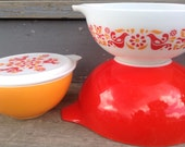 Four Piece Friendship Pyrex Bowel Set. Red Orange Mid Century Vintage Kitchen