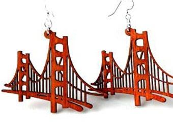 Golden Gate Bridge Wood Earrings